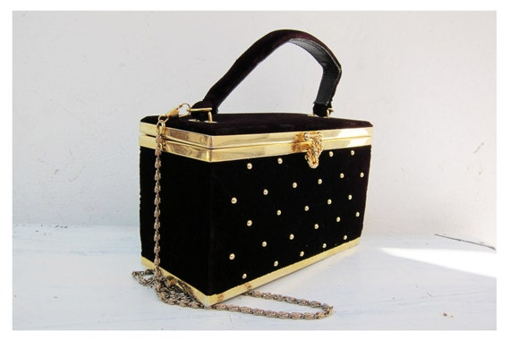 FARNELL Paris Vintage Studded Velvet Box Bag