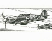 Spitfire and Hurricane art - Original Pen and Ink Drawing - black and white - unique gift for aviation enthusiast, wall art.