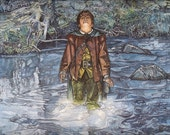 Tolkien Art-  Lord of the Rings Print - Frodo - Hobbit - The Healing of Nimrodel as seen in MECCG - gift for Tolkien fan