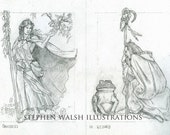 Wizard and Druidess original pencil sketches