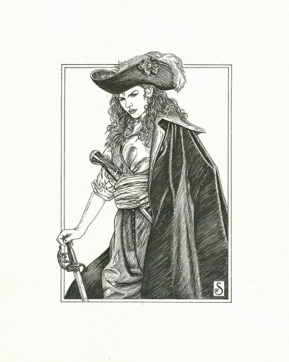 Pirate Girl Art - Original Pen and Ink Illustration as seen in roleplaying game Run Out The Guns