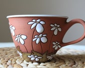 Cappuccino mug - cute mug with daisies / flower motif