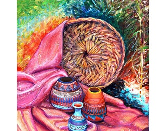 Original acrylic art painting with wood frame and LED lighting Still Life With Indian Pottery by Yelena Rubin