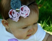 grey and pink fabric rosette elastic headband: sized for infant, can make for toddler to adult.