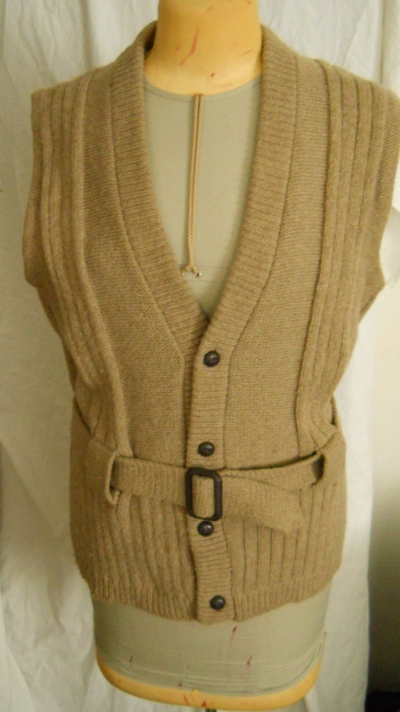 Nerdy Sweater Vest Vintage 70s V Neck Wool Tan Belted Sleeveless Button Up Cable Knit Cardigan Women Size Large Hipster
