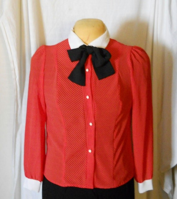 Red White Stripe Blouse / Shirt /  Nerdy Chic Top Black Pussy Bow Tie Vintage 80s Puff Sleeves Size Large Preppy / Indie / Hipster / Career