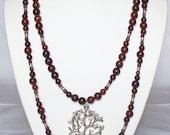 Red Pictrue Jasper Gemstone Silver pendent Necklace