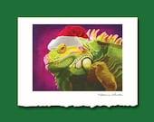 Iguana Christmas Card by Alicia Wishart