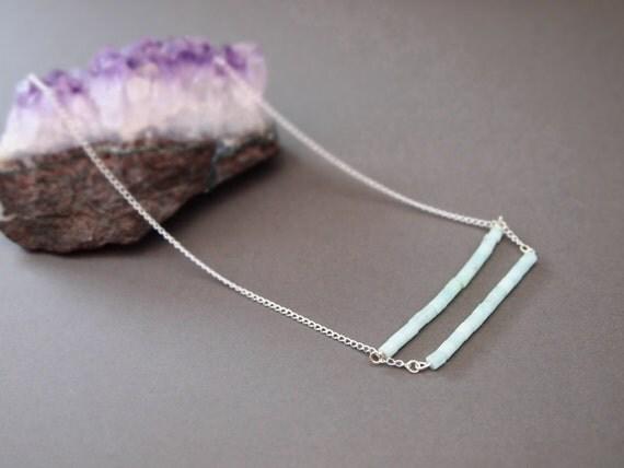soft pastel mint green natural Aventurine crystal quartz necklace