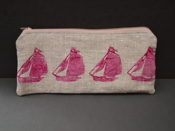 linen hand printed sailing boat yacht zipped coin purse gedget pouch pencil case
