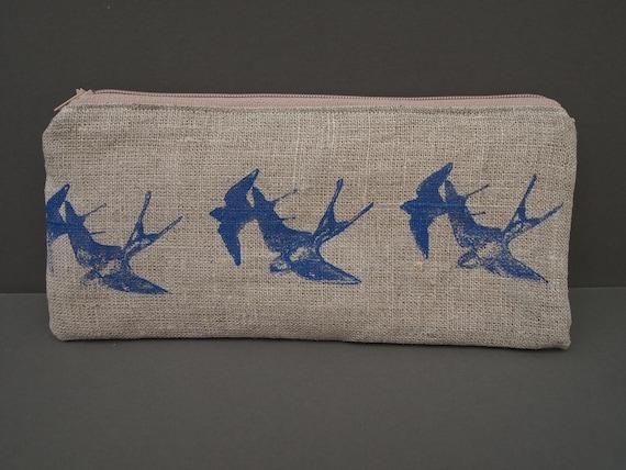 Naural linen hand printed soaring swallows birds zipped purse pouch pencil case cornflower color
