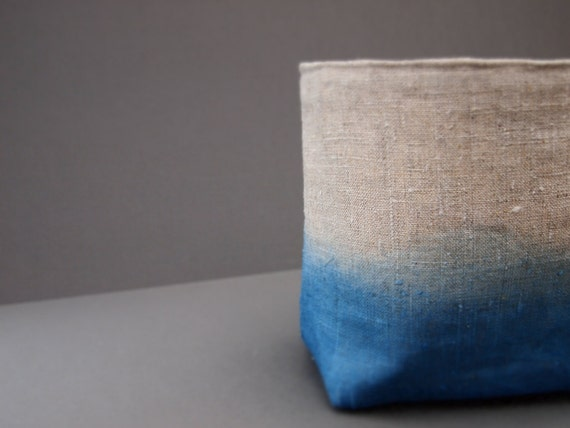 organic dip-dyed natural blue Indigo linen fabric storage basket box for all sorts of nick-nacks to be stored in