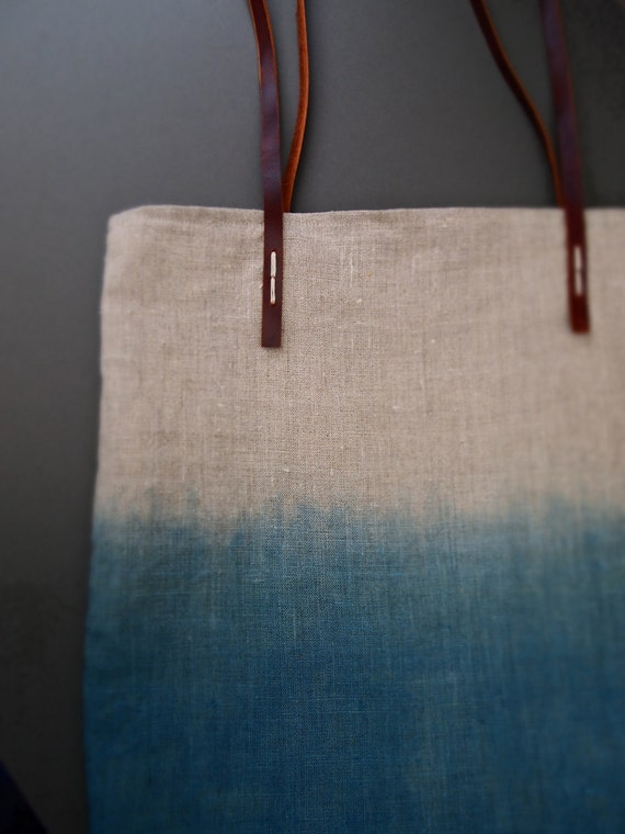 Organic dip-dyed natural blue Indigo linen easy summer tote bag with leather handles