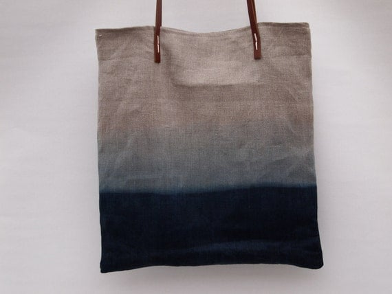 ombre Deep Blue ocean Organic dip-dyed natural Indigo linen easy summer tote bag with leather handles