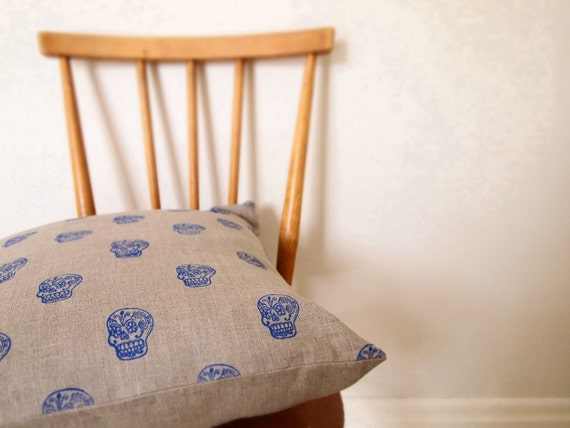 Natural organic linen hand printed mexican day of dead sugar skull pillow cushion
