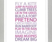 BE A KID - Purple and Pink - 8x10 Print