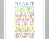 Kids room wall art - BE A KID - 11x14 Poster