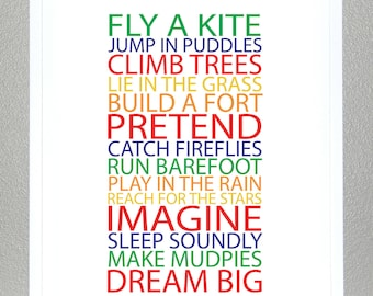 Kids room wall art, BE A KID - Primary and Secondary colors - 11x14 Poster