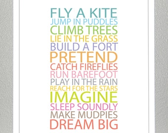 Girls room wall decor, Inspiration quote prints for children - BE A KID - 8x10 Poster