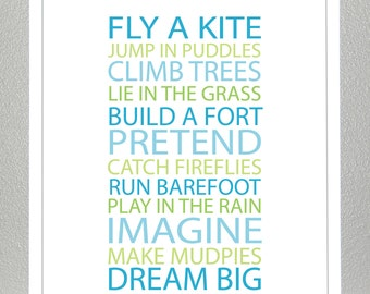 Boys room wall art - BE A KID-blue and green - 11x14