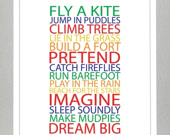 Nursery wall decor - BE A KID - Primary and Secondary colors - 8x10 Poster