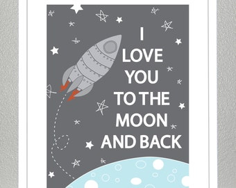 Space decor, Love you to the moon and back- 11x14