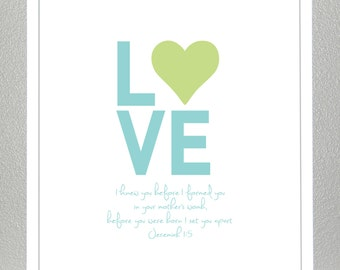 Bible verse wall art - Green and Teal - Jeremiah 1:5 Print