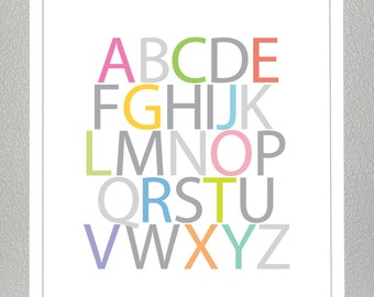 Alphabet wall art, kids room 8x10 print