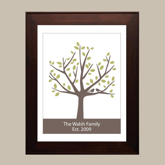 Personalized Family Tree - 8x10 ( Green & Brown )