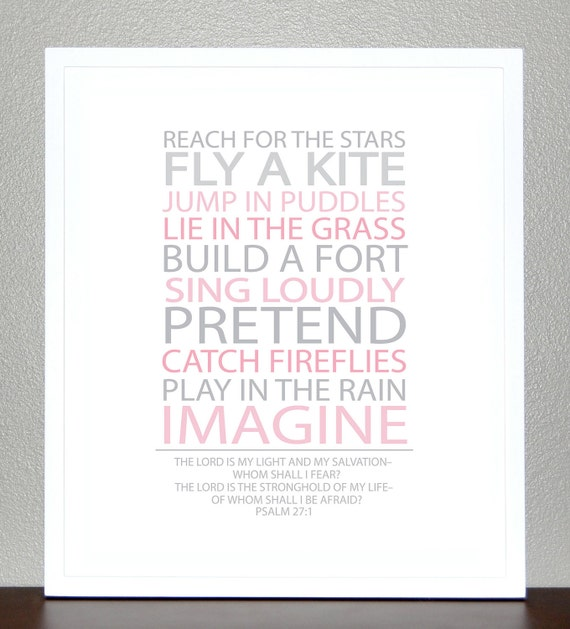 Nursery Decor - BE A KID -( Pink and Gray) With Bible Verse - 11x14 Print