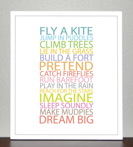 Kids wall decor, Inspiration quote prints for children - BE A KID - 8x10 Poster