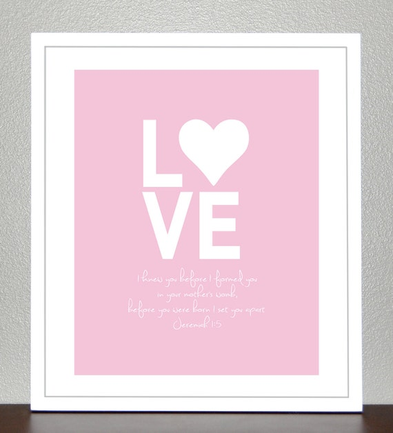 Nursery Art - Bible verse Jeremiah 1:5 - I knew you before I formed you in your mothers womb