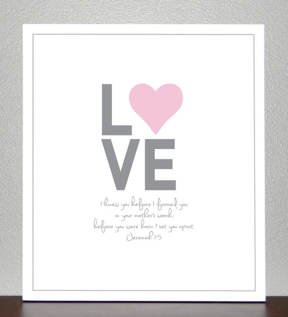 Baby girl baptism gift, bible verse ( 11x14 pink and gray )- Jeremiah 1:5