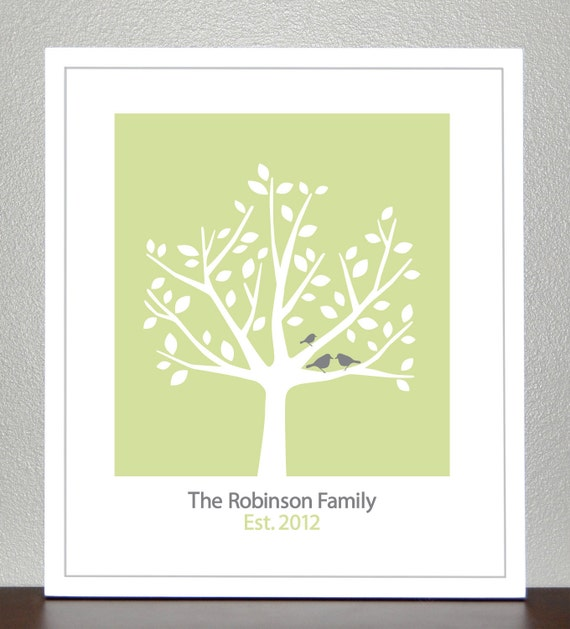 Personalized Family Tree - 8x10 ( Light Green and Gray Birds )