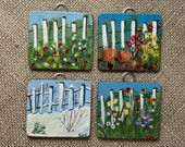 Set of Four Seasons Original Paintings on Wood