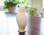 Vintage Imperial Glass Works Milk Glass Vase in Logan Berry Pattern