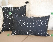 African Mud Cloth Pillows. Black and white.