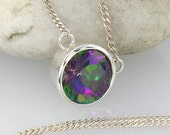 10mm Mystic Topaz Necklace Pendant - LIMITED EDITION - including sterling silver chain