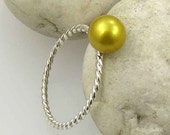 Sterling Silver and Golden Yellow Pearl Ring. 7mm Round Natural Pearl, GP001