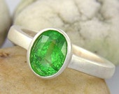Green Garnet and Silver Solitaire Ring. Tsavorite Green Garnet Sterling Silver Ring with Satin Finish - 41A001