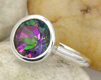 Mystic Fire Topaz Ring. Mystic Topaz Ring in Sterling Silver. Silver Mystic Topaz Solitaire Ring - LIMITED EDITION