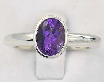 Silver Amethyst Solitaire Ring. Large Oval Amethyst Ring in Sterling Silver - made to order in your ring size.