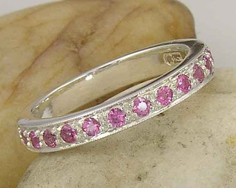 14K White Gold Pink Sapphire Band Ring, MADE TO Order in your ring size, limited edition