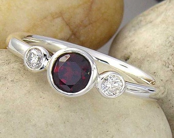 Red Garnet Ring with White Sapphire in Sterling Silver, Imperial Red Garnet and White Sapphire Silver 3 Stone Ring made to order