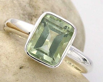 Green Amethyst Emerald Cut Solitaire Ring in Sterling Silver, made to order in your ring size. GM002