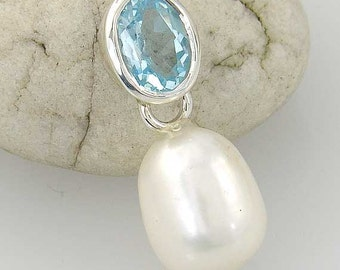 Topaz and Pearl Silver Pendant, Blue Topaz and Natural Pearl Drop Pendant in Sterling Silver - BPP001