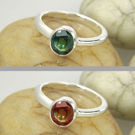 Color Change Garnet Sterling Ring with Polish Finish - Rare and Unique Natural Earth Mined Gemstone