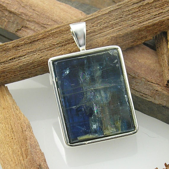 Natural Kyanite Pendant Sterling Silver  - Rare, Handmade and One of a Kind