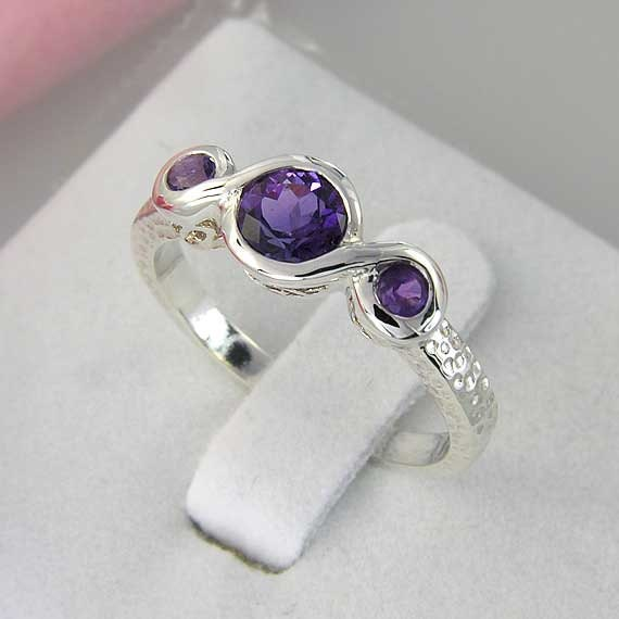 Amethyst and Silver 3 Stone Ring. 3 Deep Purple Amethyst and Sterling Silver Ring. hammered finish - made to order