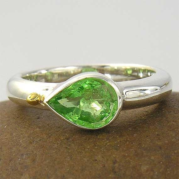 tsavorite green garnet pear shape with 14K gold accents sterling ring - dragons slayers ring